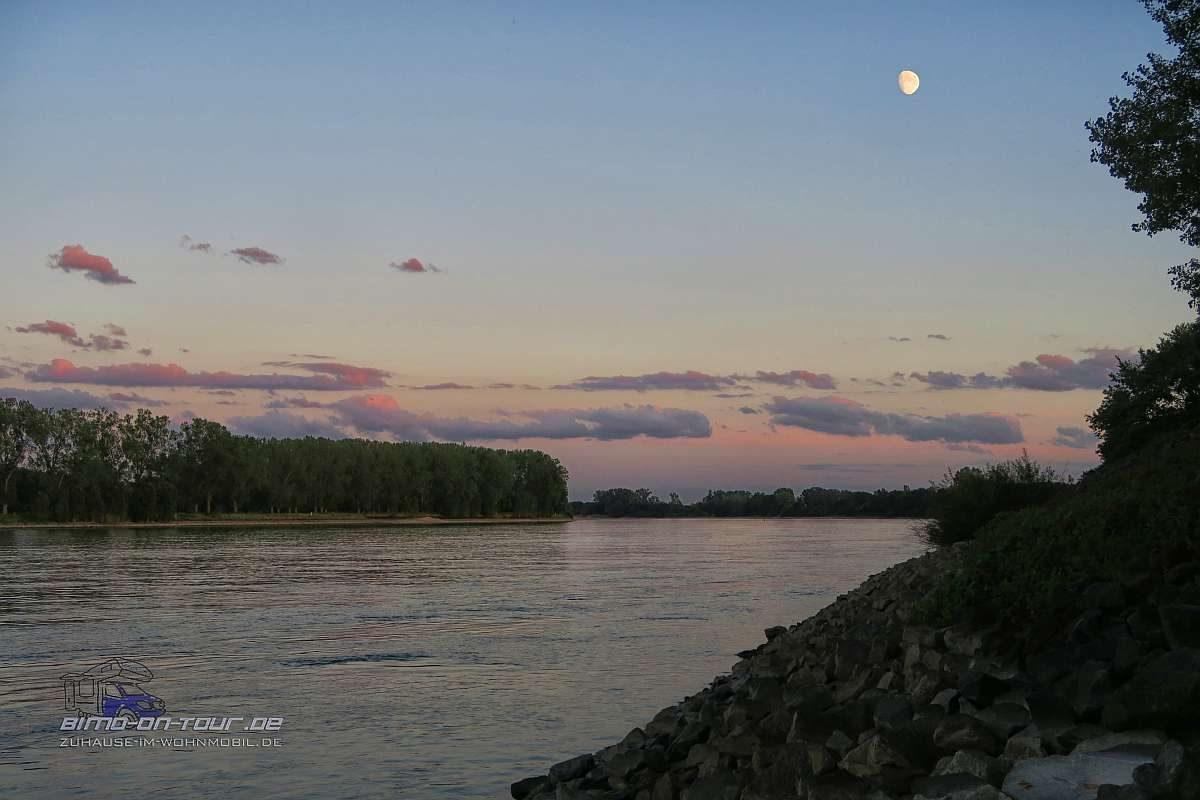 Stellplatz am Rhein mit Mond